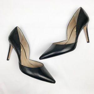 Louise et Cie Black Snakeskin Leather Heels Sz 8.5